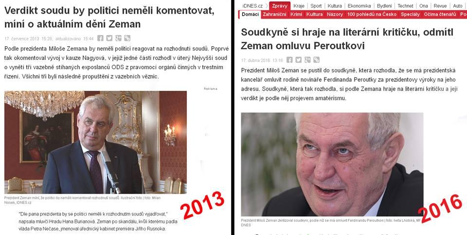 Dvě tváře prezidenta Miloše Zemana